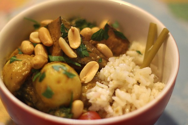 Massaman curry with lemongrass lime rice