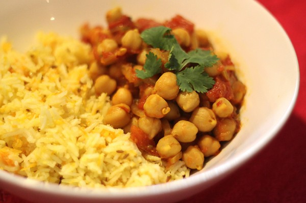 Basmati coconut pilaf with ginger tomato chickpeas