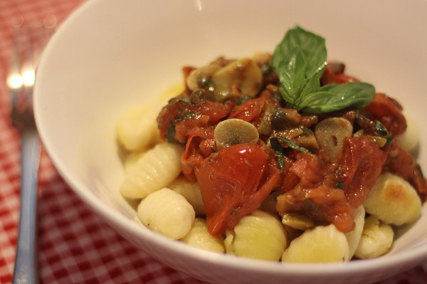 Roasted gnocchi with roasted tomato caper sauce