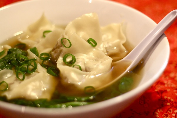 Spinach wonton soup